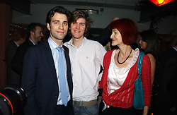 Left to right,  FRED SYKES, JOSH SYKES and their mother VALERIE GOAD at a party to celebrate the publication of Tom Sykes's book 'What Did I Do Last Night?' held at Centuary, Shaftesbury Avenue, London on 16th January 2007.<br />