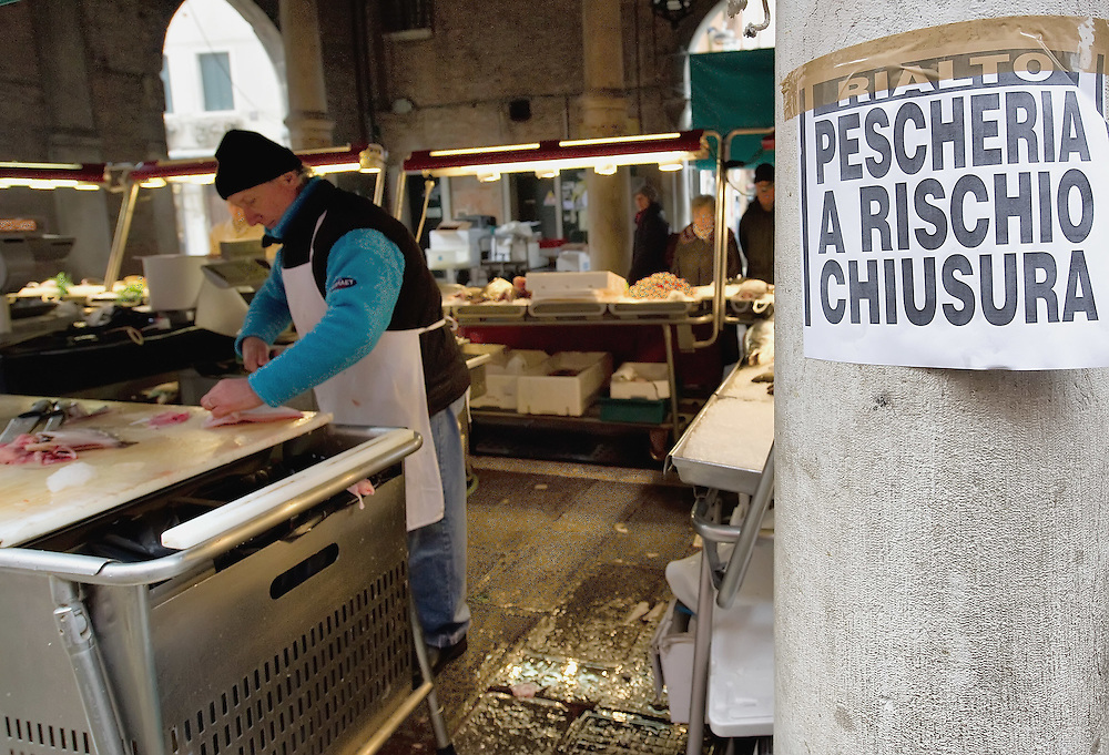 "VENICE, ITALY - FEBRUARY 08:  Signs complaining about the possible closure of the historic Rialto Fish Market on February 8, 2011 in Venice, Italy. The Rialto Fish Market recently associated with the actor Johnny Depp because it appears in some scenes of the movie ""The Tourist"" risks closure if plans to move the fish wholesale market from Venice to Fusina go ahead."
