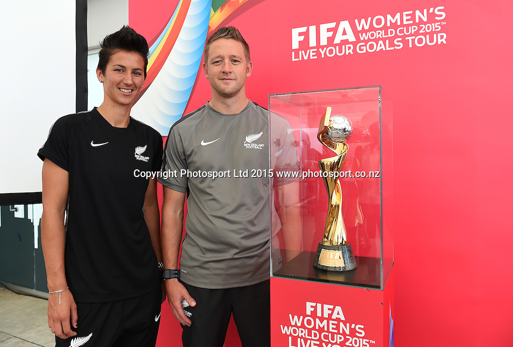 Football Ferns coach Tony Readings with Captain Abby Erceg. FIFA Women's World Cup 2015. Live Your Goals Tour. Auckland. New Zealand. Wednesday 11 February 2015. Copyright Photo: Andrew Cornaga / www.photosport.co.nz