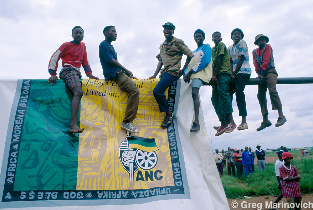 The ANC and Inkatha march through Empangeni, Zululand, KwaZulu natal,  South Africa. 1993/4