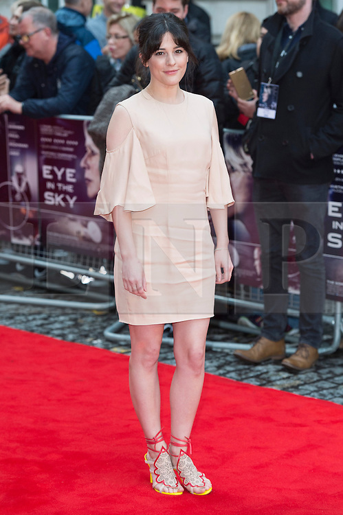 © Licensed to London News Pictures. 11/04/2016. Phoebe Fox arrives for the European film premiere of Eye In The Sky. London, UK. Photo credit: LNP