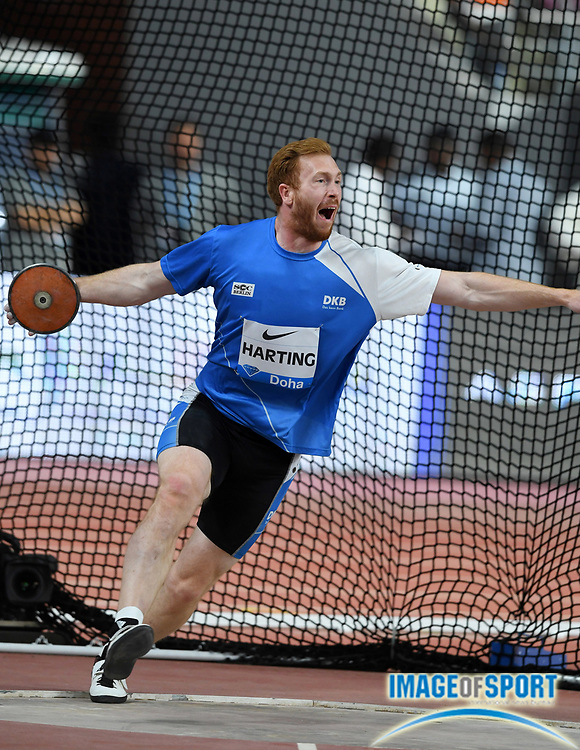 Christoph Harting (GER) places fifth in the discus at 211-7 (64.49m) during the IAAF Doha Diamond League 2019 at Khalifa International Stadium, Friday, May 3, 2019, in Doha, Qatar