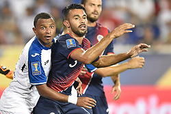July 7, 2017 - Harrison, New Jersey, U.S - Honduras midfielder OVIDIO LANZA (16) defends against Costa Rica defender GIANCARLO GONZALEZ (3) during CONCACAF Gold Cup 2017 at Red Bull Arena in Harrison New Jersey Costa Rica defeats Honduras 1 to 0. (Credit Image: © Brooks Von Arx via ZUMA Wire)