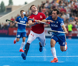 Sam Ward of Great Britain Men is tackled by Pedro Ibarra of Argentina Men during the 2019 Men's FIH Pro League match at Lee Valley Hockey Centre, Stratford<br /> Picture by Simon Parker/Focus Images Ltd <br /> 18/05/2019