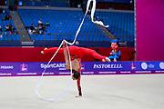 Nikolchenko Vlada during Qualification of ribbon at World Cup Pesaro 2018.<br /> She was born at Kharkiv in Ukraine 2002.