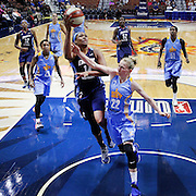 UNCASVILLE, CONNECTICUT- MAY 05:  Rachel Hollivay #14 of the Atlanta Dream drives to the basket defended by Courtney Vandersloot #22 of the Chicago Sky during the San Antonio Stars Vs Connecticut Sun preseason WNBA game at Mohegan Sun Arena on May 05, 2016 in Uncasville, Connecticut. (Photo by Tim Clayton/Corbis via Getty Images)