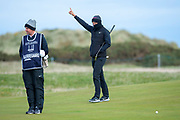 Lucas Bjerregaard salutes his playing partner Dan Friedkin at the 15th green during the final round of the Alfred Dunhill Links Championships 2018 at West Sands, St Andrews, Scotland on 7 October 2018