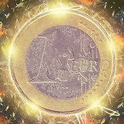 Digitally enhanced image of a Gold and silver One Euro coin