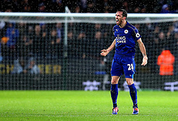 Christian Fuchs of Leicester City celebrates Jamie Vardy of Leicester City scoring a goal - Mandatory by-line: Robbie Stephenson/JMP - 10/12/2016 - FOOTBALL - King Power Stadium - Leicester, England - Leicester City v Manchester City - Premier League