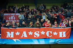 MADRID, SPAIN - Wednesday, October 22, 2008: Liverpool supporters and a banner for Javier Mascherano 'M*A*S*C*H' during the UEFA Champions League Group D match against Club Atletico de Madrid at the Vicente Calderon. (Photo by David Rawcliffe/Propaganda)