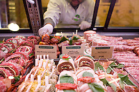 9 July, 2008. New York, NY. Whole Foods employee Casid Narvaez, 32, arranges the new assortment of kabobs and spiedini that is presented at the meat and poultry section of the Whole Foods Market, which opened in Tribeca today,  on July 9th 2008.<br /> <br /> ©2008 Gianni Cipriano for The New York Times<br /> cell. +1 646 465 2168 (USA)<br /> cell. +1 328 567 7923 (Italy)<br /> gianni@giannicipriano.com<br /> www.giannicipriano.com