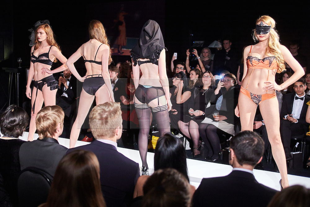 © Licensed to London News Pictures.  05/11/2014. OXFORD, UK. Oxford Fashion Week SS15 Lingerie Show at the Malmaison Hotel in Oxford. <br /> <br /> In this picture: Models wearing outfits created by designer Pure Chemistry. <br /> <br /> Photo credit: Cliff Hide/LNP