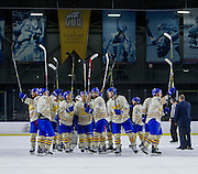 21 February 2015:  Action during a CIS Men's Hockey - Canada West Quarter-Final Playoffs.  Game #3 (best of 3) between the University of British Columbia Thunderbirds and the University of Manitoba Bisons at Mitchell Arena, University of British Columbia, Vancouver, BC, Canada.    ****(Photo by Bob Frid/UBC Athletics) 2015 All Rights Reserved****