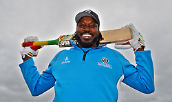 Somerset's Chris Gayle poses prior to the start. Photo mandatory by-line: Harry Trump/JMP - Mobile: 07966 386802 - 31/05/15 - SPORT - CRICKET - Natwest T20 Blast - Somerset v Kent- The County Ground, Taunton, England.