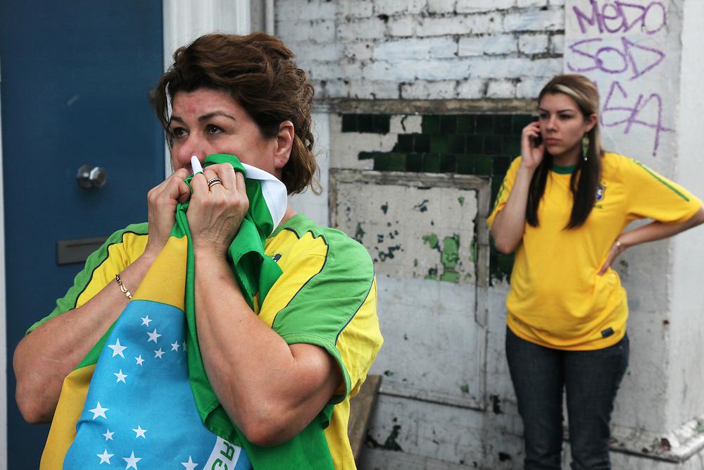 Brasil v Holland<br /> <br /> Copyright: Jonathan GoldbergWorld Cup 2010 watched  on London TV<br /> Brazil v Holland at Kensal Green