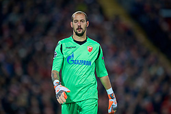 LIVERPOOL, ENGLAND - Wednesday, October 24, 2018: FK Crvena zvezda goalkeeper Milan Borjan during the UEFA Champions League Group C match between Liverpool FC and FK Crvena zvezda (Red Star Belgrade) at Anfield. (Pic by David Rawcliffe/Propaganda)