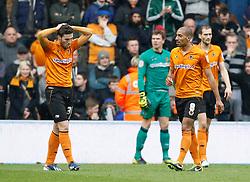 Wolves players dejected after the first goal went in- Photo mandatory by-line: Matt Bunn/JMP  - Tel: Mobile:07966 386802 13/04/2013 - Wolverhampton Wanderers v Huddersfield Town - SPORT - FOOTBALL - Championship -  Wolverhampton - Molinuex-