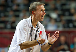 Head coach of France Vincent Collet during  the eight-final basketball match between National teams of Turkey and France at 2010 FIBA World Championships on September 5, 2010 at the Sinan Erdem Dome in Istanbul, Turkey. (Photo By Vid Ponikvar / Sportida.com)