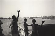 Kids cheering. Glastonbury, 1992.