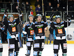 09.12.2011, Keine Sorgen Eisarena, Linz, AUT, EBEL, EHC Liwest Black Wings Linz vs EC Rekord Fenster VSV, im Bild Danny Irmen, Daniel Mitterdorfer, Mike Ouellette and Martin Mairitsch (Liwest Black Wings Linz, #9, #4, #28, #86) celebreates the victory over Jesenice, during the Erste Bank Icehockey League, Keine Sorgen Eisarena, Linz, Austria, 2011-12-09, EXPA Pictures © 2011, PhotoCredit: EXPA/ Reinhard Eisenbauer