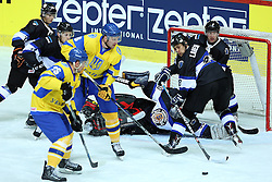 20.04.2016, Dom Sportova, Zagreb, CRO, IIHF WM, Ukraine vs Estland, Division I, Gruppe B, im Bild Andrei Mikhnov, Maksim Robushkin, Lauri Lahesalu // during the 2016 IIHF Ice Hockey World Championship, Division I, Group B, match between Ukraine and Estonia at the Dom Sportova in Zagreb, Croatia on 2016/04/20. EXPA Pictures © 2016, PhotoCredit: EXPA/ Pixsell/ Goran Stanzl<br /> <br /> *****ATTENTION - for AUT, SLO, SUI, SWE, ITA, FRA only*****