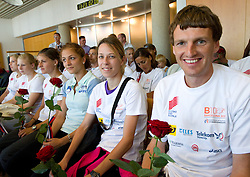 Liona Rebernik, Dasa Bajec and Robert Kotnik at arrival of team Slovenia at the end of European Athletics Championships Barcelona 2010 to Slovenia, on August 2, 2010 at Airport Joze Pucnik, Brnik, Slovenia. (Photo by Vid Ponikvar / Sportida)