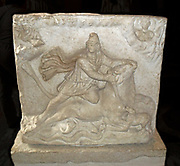 Relief with two sides depicting the Iranian (Persian) god Mithras. Mithras was worshiped in ancient Rome from the later half of the Ist Century AD. relief dates from 2nd or 3Rd Century.