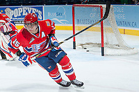 KELOWNA, CANADA -JANUARY 29: Carter Proft LW #15 of the Spokane Chiefs warms up against the Kelowna Rockets on January 29, 2014 at Prospera Place in Kelowna, British Columbia, Canada.   (Photo by Marissa Baecker/Getty Images)  *** Local Caption *** Carter Proft;
