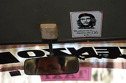 The image of Che Guevara stands for many things throughout Latin America, from a young traveler to an anti-U.S., anti-imperialist revolutionary. Guevara was captured and killed in la Higuera, a small town about 70 km from Valle Grande. A cabbie sports a Che sticker on the inside of his car.