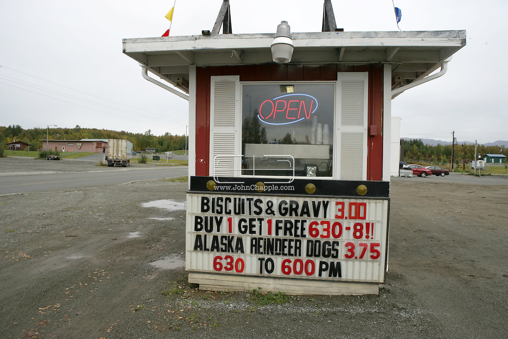 12th September 2008, Wasilla, Alaska. A coffee shop in Wasilla that serves reindeer hotdogs, in the hometown of the Alaskan Governor, Sarah Palin. Palin is the US Republican Vice Presidential pick. PHOTO © JOHN CHAPPLE / REBEL IMAGES.tel: +1-310-570-910