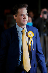 © Licensed to London News Pictures. 08/05/2015. SHEFFIELD, UK. Nick Clegg arriving at English Institute of Sport in Sheffield for the counting of 2015 General Election for Sheffield Hallam Constituency on Friday, 8 May 2015. Nick Clegg has been re-elected to Sheffield Hallam but Liberal Democrats suffered great losses across the UK. Photo credit: Tolga Akmen/LNP