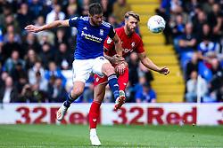 Nathan Baker of Bristol City takes on Lukas Jutkiewicz of Birmingham City - Mandatory by-line: Robbie Stephenson/JMP - 10/08/2019 - FOOTBALL - St Andrew's Stadium - Birmingham, England - Birmingham City v Bristol City - Sky Bet Championship