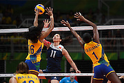 RIO DE JANEIRO, BRAZIL - AUGUST 16:<br /> <br /> Xu Yunli #11 of China in action during the Women\'s Quarterfinal match between China and Brazil on day 11 of the Rio 2106 Olympic Games at the Maracanazinho on August 16, 2016 in Rio de Janeiro, Brazil. <br /> ©Exclusivepix Media