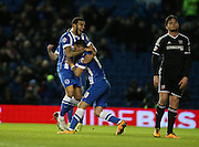 Brighton striker, Tomer Hemed (10) scores the second goal and celebrates with Brighton central defender, Connor Goldson (17) during the Sky Bet Championship match between Brighton and Hove Albion and Brentford at the American Express Community Stadium, Brighton and Hove, England on 5 February 2016.