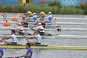 Eton Dorney, Windsor, Great Britain,..2012 London Olympic Regatta, Dorney Lake. Eton Rowing Centre, Berkshire[ Rowing]...Description;  Heat, Men's double Sculls: NZL M2X..Nathan COHEN (b) , Joseph SULLIVAN (s).ITA M2X   Alessio SARTORI (b) , Romano BATTISTI (s).GER.M2X Eric KNITTEL (b) , Stephan KRUEGER (s).AUS.David CRAWSHAY (b) , Scott BRENNAN (s).Dorney Lake. 12:20:05  Tuesday  31/07/2012.  [Mandatory Credit: Peter Spurrier/Intersport Images].Dorney Lake, Eton, Great Britain...Venue, Rowing, 2012 London Olympic Regatta...