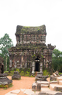 Carved reliefs on the B5 tower among the Cham Temple ruins at the My Son Sanctuary, Quang Nam Province, Vietnam, Southeast Asia