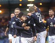 Ryan Conroy is congratulated by Martin Boyle and Jim McAlister after firing Dundee ahead from the penalty spot - Dundee v Alloa Athletic, SPFL Championship at Dens Park<br /> <br />  - &copy; David Young - www.davidyoungphoto.co.uk - email: davidyoungphoto@gmail.com