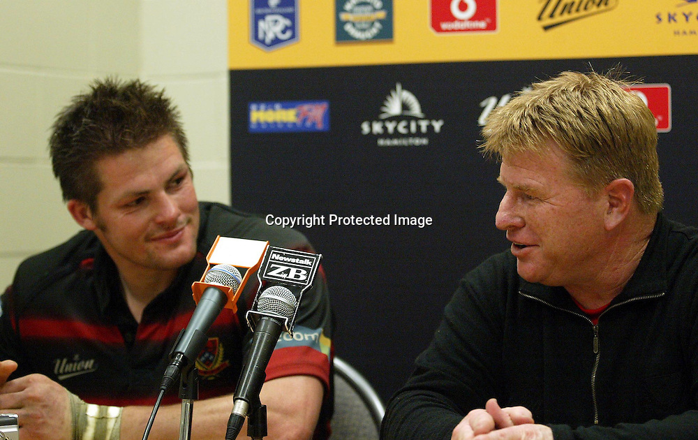 Canterbury captain Richie McCaw and coach Aussie McLean at the after match press conference.<br />Waikato Vs Canterbury, Waikato Stadium, Friday September 24 2004. Canterbury def Waikato 30-15.<br />Photo : Barry Bland / PHOTOSPORT