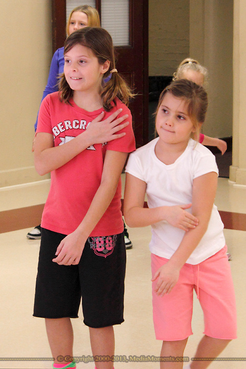 Harley Lamb, 10 (left) and Ava Stevens, 6 during the first of six hip-hop dance classes at the Carnegie Center in Miamisburg , Saturday, January 28, 2012.