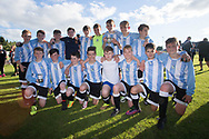 Grove pose with the Logie Cup - Grove (blue and white) v. Harris (red) in the U13 Logie Cup Final  (sponsored by DFCSS) at Whitton Park, Dundee, Photo: David Young<br /> <br />  - &copy; David Young - www.davidyoungphoto.co.uk - email: davidyoungphoto@gmail.com