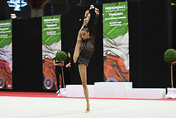 July 28, 2018 - Chieti, Abruzzo, Italy - Rhythmic gymnast Yeva Meleshchuk of Ukraine performs her clubs routine during the Rhythmic Gymnastics pre World Championship Italy-Ukraine-Germany at Palatricalle on 29th of July 2018 in Chieti Italy. (Credit Image: © Franco Romano/NurPhoto via ZUMA Press)
