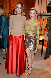 Left to right, LOUISE ROE and ASHLEY ROBERTS at a party to celebrate the publication of Front Roe by Louise Roe held at Ralph Lauren, 1 New Bond Street, London on 1st April 2015.