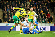 Norwich City midfielder Todd Cantwell (36) see's his shot blocked by Portsmouth defender Matthew Clarke (5) during the The FA Cup 3rd round match between Norwich City and Portsmouth at Carrow Road, Norwich, England on 5 January 2019.
