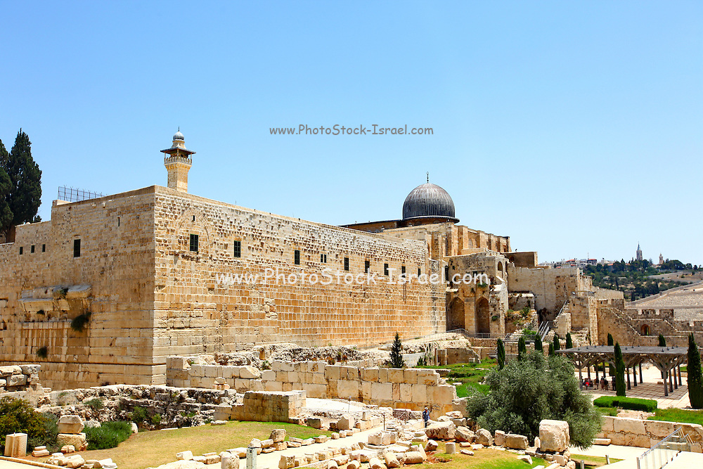 Israel, Jerusalem, The City of David (Ir David) is claimed to be the oldest settled neighborhood of Jerusalem and a major archaeological site due to recognition as biblical Jerusalem Temple mount and Al Aqsa Mosque in the background
