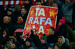 """LIVERPOOL, ENGLAND - Saturday, March 3, 2018: Liverpool's supporters' banner """"Ta Rafa La"""" thanking former boss Rafael Benitez before the FA Premier League match between Liverpool FC and Newcastle United FC at Anfield. (Pic by Peter Powell/Propaganda)"""