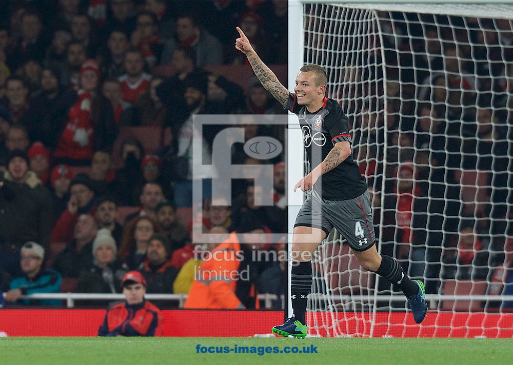Jordy Clasie of Southampton celebrates after scoring the opening goal during the EFL Cup match at the Emirates Stadium, London<br /> Picture by Alan Stanford/Focus Images Ltd +44 7915 056117<br /> 30/11/2016