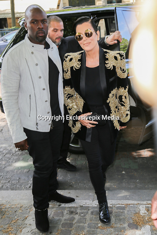 KRIS JENNER COREY AND GAMBLE - ARRIVALS IN PARADE BALMAIN HOMME - PARIS FASHION WEEK<br /> &copy;Exclusivepix Media