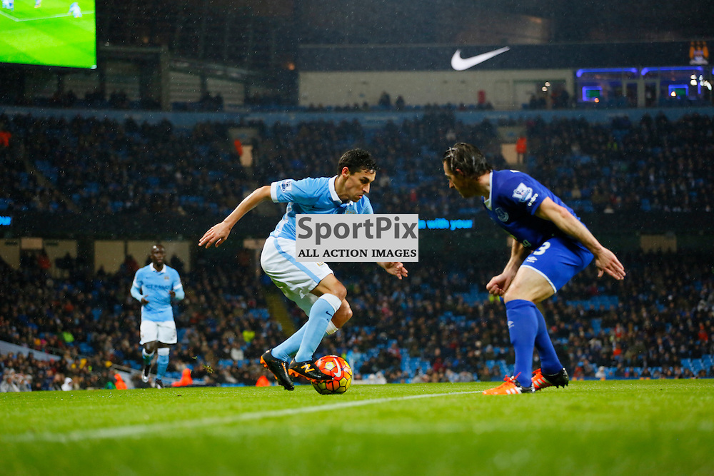 Jesus Navas attacks during Manchester City vs Everton, Barclays Premier League, Wednesday 13th January 2016, Etihad Stadium, Manchester