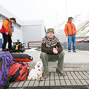 The group at Ísafjörður airport.<br /> <br /> Images from an ski touring adventure to Jökulfirðir, a series of fjords in west Iceland, with Bergmenn Mountain Guides and Borea Adventures. The tour takes skiers from fjord to fjord with the sail boat Aurora as a overnight base.