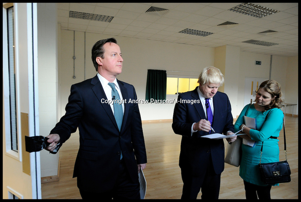 The Mayor Boris Johnson with The Prime Minister David Cameron wait backstage  before going on stage at a rally in Orpington to support Boris's Mayoral Campaign, during his Mayoral campaign,  Tuesday April 17, 2012. Photo By Andrew Parsons/i-Images
